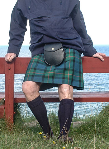 Custom kilt, Gunn tartan, worn with an anorak
